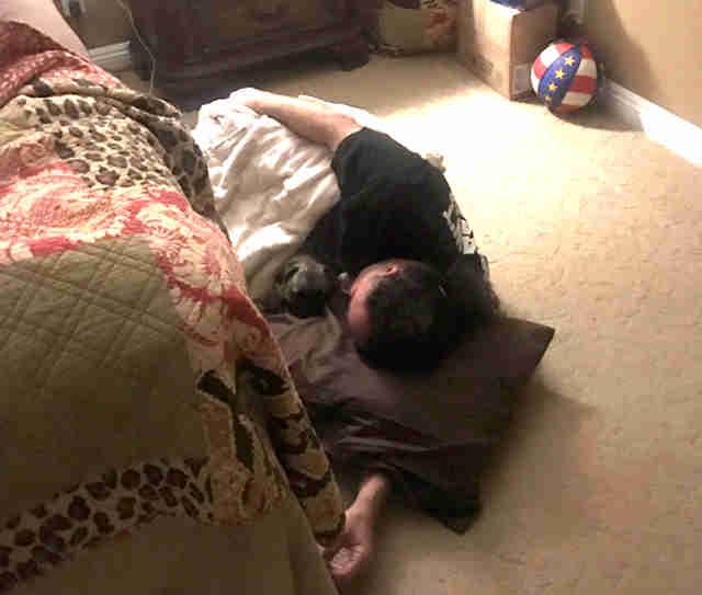 Жена запретила спать собаке в супружеской кровати, тогда муж лег с ней на полу